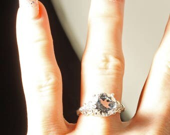 Sale! Sterling Silver 9MM or 2.75 CTW White Topaz and Diamond Engagement Ring US SZ 5