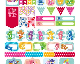 Care Bear Planner Stickers 50 piece set , Journals , Calendar , reminder , Rainbow , Flags , Labels , Kids , Teens , Adults