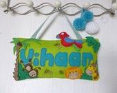 Bedroom door sign - animal door plaque - jungle nursery door sign - new baby gift - nursery decor - kids bedroom wall art - christening gift