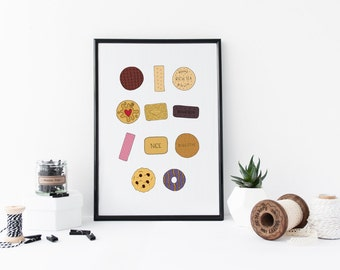 British Biscuits Print, Bourbon Print, Custard Cream Print, Cute Biscuit Wall Art, Cookies Print, Biscuit Food Print, Kitchen Print Gift