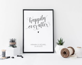 Happily Ever After Print, Wedding Anniversary Gift, Personalised Wedding Gift, Custom Mr & Mrs Print, Personalized Poster, Wedding Gift Idea