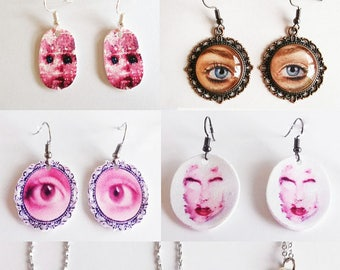 Unique shrink art earrings,necklaces & cabochon earrings.Only one available of each, choose which one you would like from the dropdown menu.