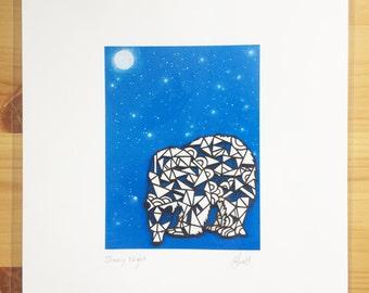 Starry Night Polar Bear A4 Print