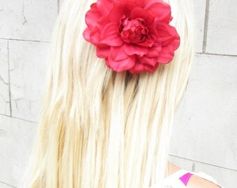 Red Dahlia Flower Hair Clip Large Lotus Rockabilly Rose Big Vintage 1950s 998