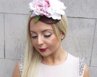 Ivory Blush Pink Brown Velvet 1940s Flower Fascinator Hair Clip Hat Races 2464