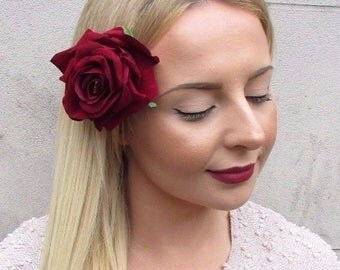 Large Burgundy Deep Red Rose Flower Hair Clip Rockabilly 1950s Fascinator 2841