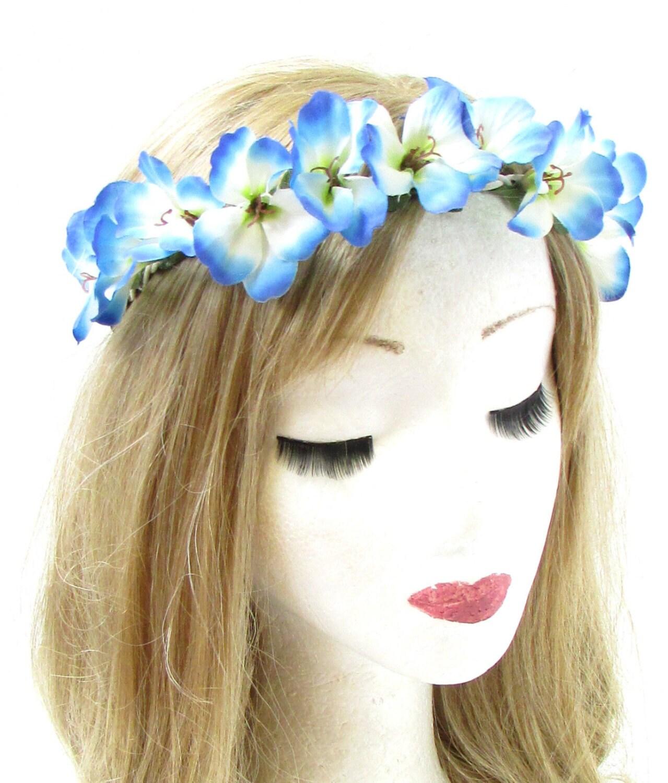 Blue White Hibiscus Flower Headband Hair Crown Festival Garland
