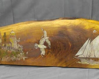 Old vintage hand painted pyrography wood plank panel lighthouse sailboat seagulls nautical art wall hanging plaque