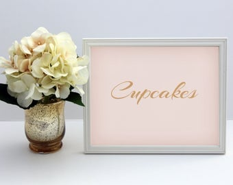 Cupcakes Wedding Sign // Printable // Pink and Gold Wedding Signs // DIY Instant Download // Drinks Sign // Blush and Gold