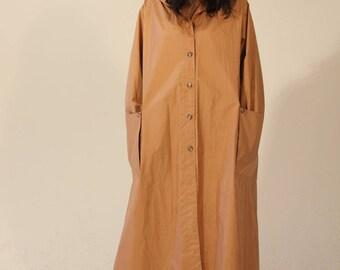 70s Trench Coat Brown Cream Light Rain Jacket Long Vintage Medium Large Buttons