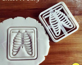 Chest x-ray cookie cutter biscuit cutters Gifts radiologists bones sternum medical emergency imaging rib cage students one of a kind ooak