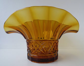 Art deco pressed glass vase - amber - Czechoslovakia - wheat sheaf