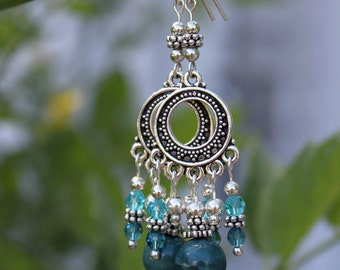 Silver, Jasper, and Swarovski Crystal Chandelier Earrings