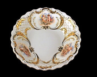 Antique Cherub Bowl, Made In Germany, Gold Gilt, White Porcelain, Scalloped Edge, Decorative Bowl, Centerpiece