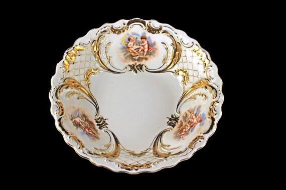 Antique Cherub Bowl, Made In Germany, Gold Gilt, White Porcelain, Scalloped Edge, Decorative Bowl, Centerpiece