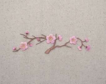 Cherry Blossom - Pink Flowers - Brown Stem - LARGE - Iron on Applique - Embroidered Patch - 611528C