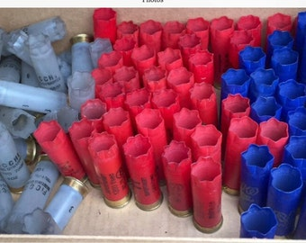 300 RED, WHITE (Clear) & BLUE empty shotgun shells.