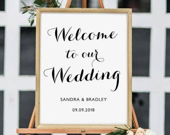 Printable wedding welcome poster sign, printable template, 18x24, 11x17, A3 & A2 sizes included. Save as PDF for professional printing
