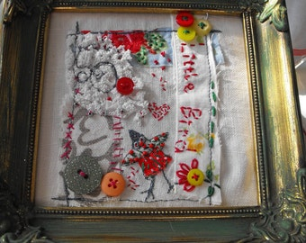 Hand made vintage framed embroidered Little Bird picture.