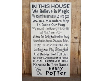 In This House We Do Harry Potter, Wood Sign, Hogwarts, School of Magic, Wizards, Harry Potter Sign, Harry Potter Quotes, Harry Potter,