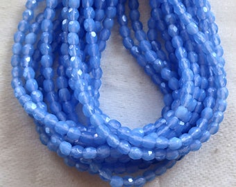 Lot of 50 3mm Milky Sapphure Blue Czech glass beads, firepolished faceted round beads C8401
