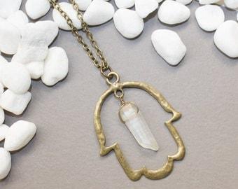 Hamsa Necklace, Hamsa Crystal Necklace, Hamsa Jewelry, Hamsa Hand Necklace, Spiritual Jewelry, Healing Jewelry, Angel Aura Quartz Necklace