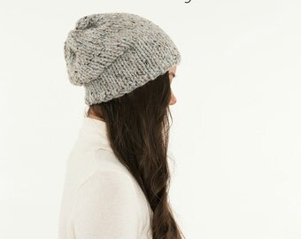 KNITTING PATTERN - Simple Slouchy Knit Hat Pattern, Classic Beanie Instant Download Knitting, DIY Easy Beginner Toque