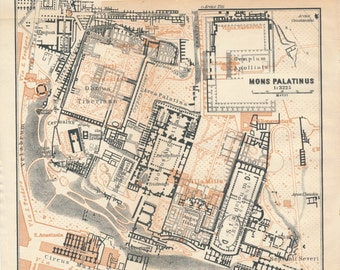 1928 Palatine Hill Rome Italy Antique Map