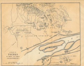 1907 Thebes Egypt Antique Map