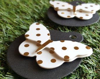 Butterfly Black & Metallic Gold Round Gift Tags 2pcs - Large 3D Butterfly