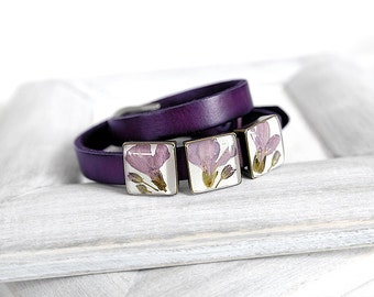 Cute gift idea for mother day gift Double wrap leather bracelet for girlfriend Purple gift Anniversary bracelet for wife Chic bracelet mom