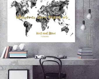 Black and White Wedding Guest book Print Monochrome World Map Black and White wedding guest book