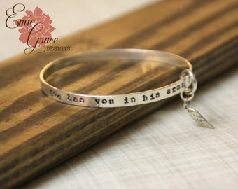 Sterling Silver Bangle Bracelet with Angel Wing, God Has You in His Arms, I Have You in My Heart, Memorial Bracelet