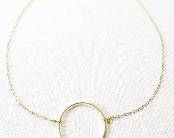 The Mimi Necklace, circle pendant 14k gold