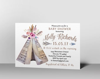 Tribal Baby Shower Invitation, Boho Baby Shower Invitation, Teepee Baby Shower Invitation, Baby shower invitation gender neutral, printable