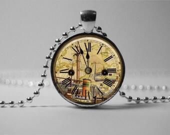 STEAMPUNK CLOCK PENDANT - Steampunk ship Jewelry - Steampunk necklace Watch Jewelry -  Steampunk Timer Pendant Steampunk Horologe Pendant