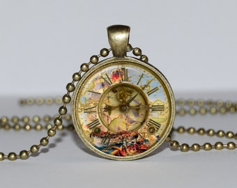 CLOCK NECKLACE JEWELRY Victorian clock pendant Victorian clock necklace Steampunk clock necklace Clock pendant Stylish jewelry