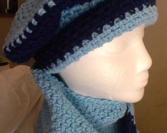 Light and Dark Blue Hat and Scarf Set