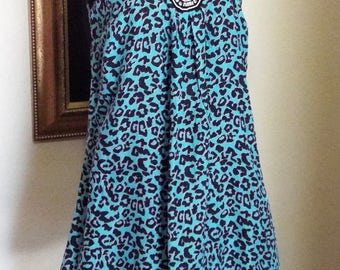 Upcycled Turquoise and Black Print Boho Sleeveless Dress w Skirt Extension