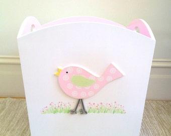Bird Toy Bin - Ice Pink/Soft Green, Toy Bin, Toy Box, Girls Toy Box, Girls Toy Bin, Toy Storage, Toy Organisation, Toy Chest, Childrens Box