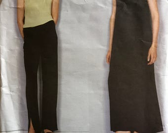 Vogue 2253 - American Designer Calvin Klein A Line Maxi Dress, Boat Neck Top and Pants - Size 8 10 12
