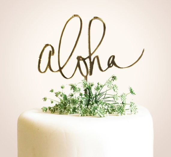 Aloha Laser Cut Calligraphy Cake Topper Hawaii Calligraphy