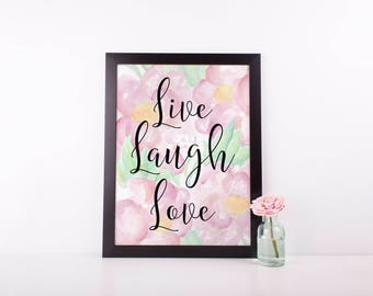 Live Laugh Love Art Print | Printable Wedding Sign | Instant Download | Printable Wall Art | Pink Peonies