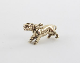 14K Yellow Gold Cat Charm Pendant -  Wild Cat Panther pendant Head Moves