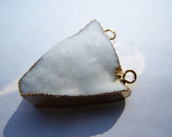Druzy pendant with Gold Electroplate Triangle 40x28mm