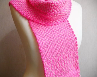 Magenta scarf handwoven scarf woven scarf pink scarf, chunky scarf