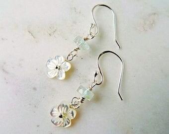 Blue Topaz earrings - Topaz earrings - something blue for bride - boho bridal jewellery - blue stone earrings - November birthstone - UK