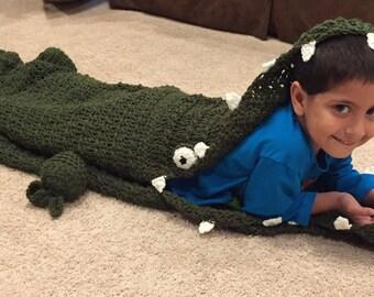 Alligator Snuggle & Sleep Sack - Alligator Sleeping Bag Blanket -Alligator Blanket - Crochet Alligator Sleep Blanket