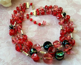 Vintage Lucite Bead Necklace Triple Strand Signed Germany Lightweight and Colorful