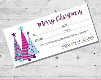 Rodan and Fields Holiday Christmas Gift Certificate   INSTANT DOWNLOAD   Christmas Trees
